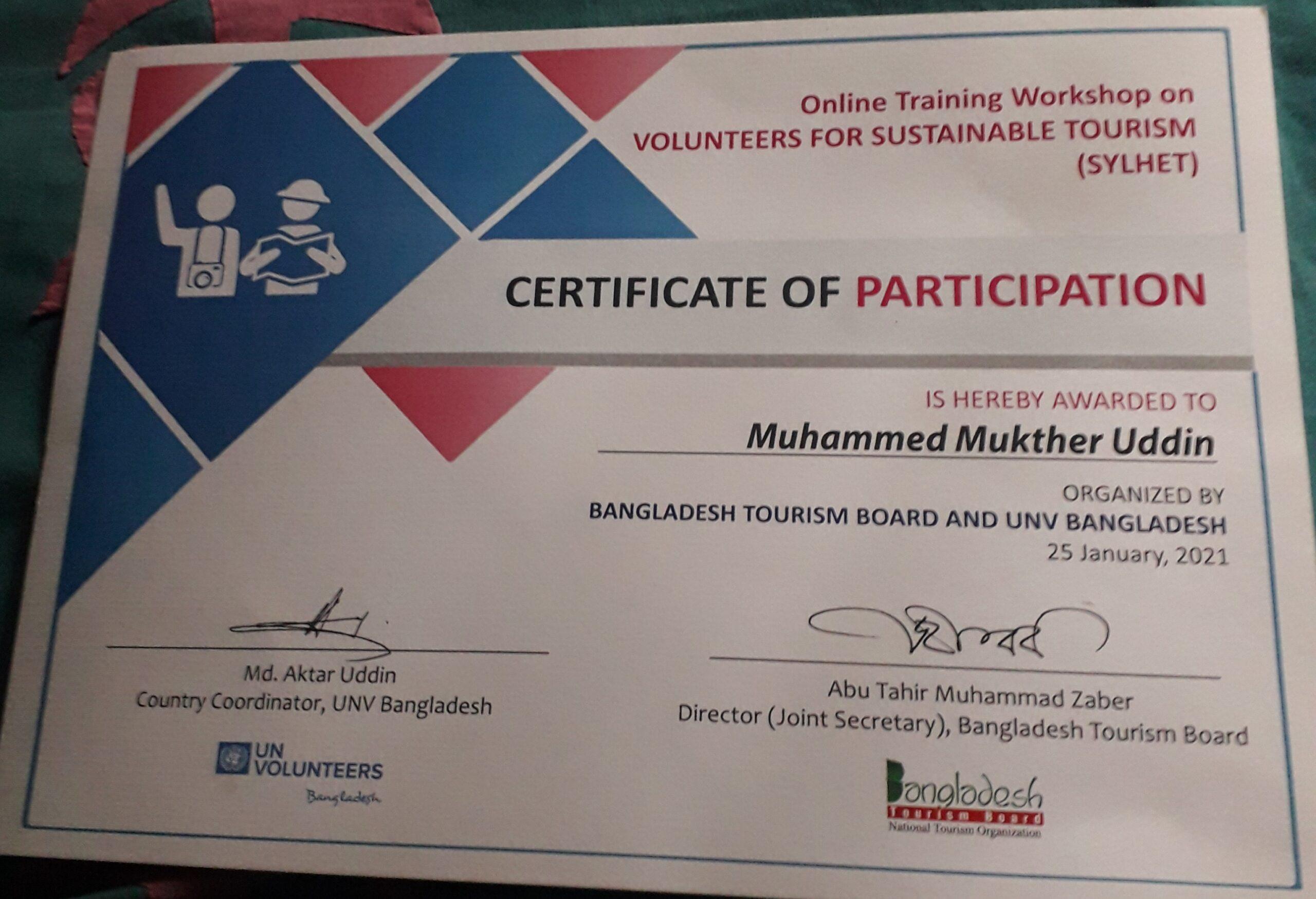 Fahima Tourism Network, Muhammed Mukther Uddin, Sylhet, Bangladesh